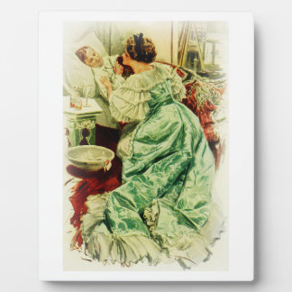 Harrison Fisher Girl When a Man Marries Sick Bed Plaque
