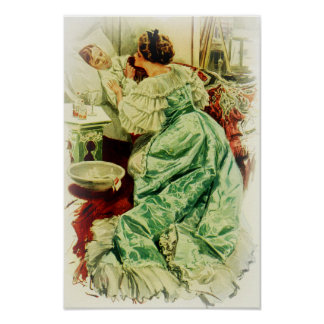Harrison Fisher Girl When a Man Marries Sick Bed Poster