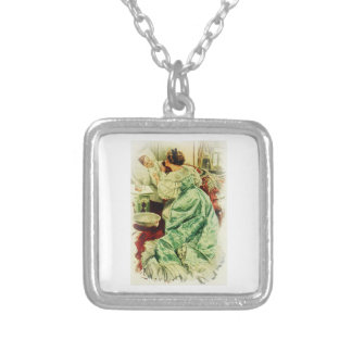 Harrison Fisher Girl When a Man Marries Sick Bed Square Pendant Necklace