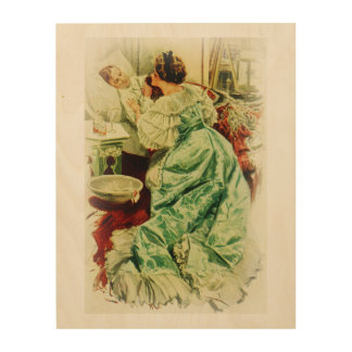 Harrison Fisher Girl When a Man Marries Sick Bed Wood Wall Decor