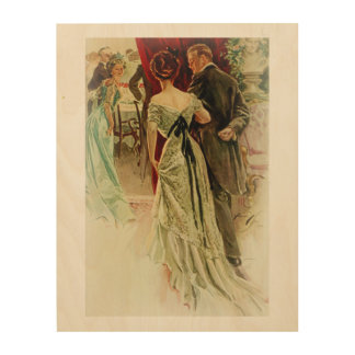Harrison Fisher Girl When Man Marries To the Ball Wood Print