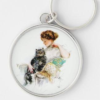 Harrison Fisher: Mujer con el gato Llavero Personalizado
