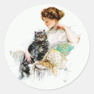 Harrison Fisher: Mujer con el gato Pegatina Redonda