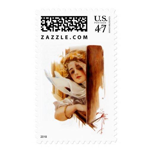 Harrison Fisher: Mujer en tren Sello Postal