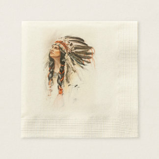 Harrison Fisher Song Hiawatha Indian head dress 1 Coined Cocktail Napkin