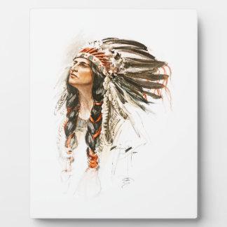 Harrison Fisher Song Hiawatha Indian head dress 1 Plaque
