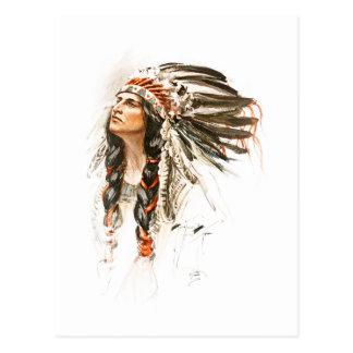 Harrison Fisher Song Hiawatha Indian head dress 1 Postcard