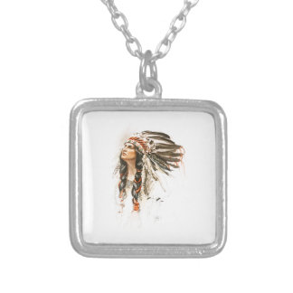 Harrison Fisher Song Hiawatha Indian head dress 1 Square Pendant Necklace