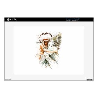 "Harrison Fisher Song Hiawatha Indian head dress 2 15"" Laptop Decal"