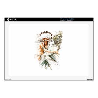 "Harrison Fisher Song Hiawatha Indian head dress 2 17"" Laptop Decal"
