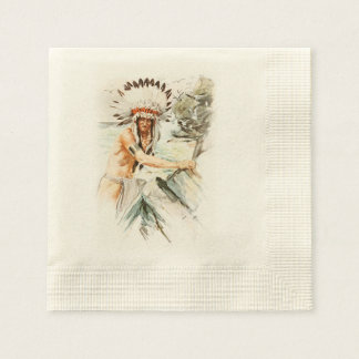 Harrison Fisher Song Hiawatha Indian head dress 2 Coined Cocktail Napkin
