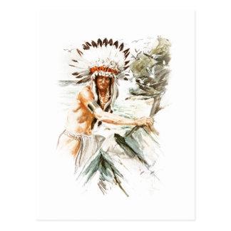Harrison Fisher Song Hiawatha Indian head dress 2 Postcard