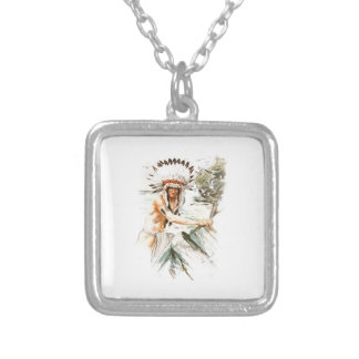 Harrison Fisher Song Hiawatha Indian head dress 2 Square Pendant Necklace