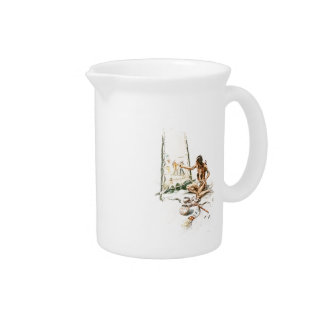 Harrison Fisher Song Hiawatha Red Indian Painting Beverage Pitcher