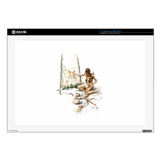 """Harrison Fisher Song Hiawatha Red Indian Painting 17"""" Laptop Decals"""