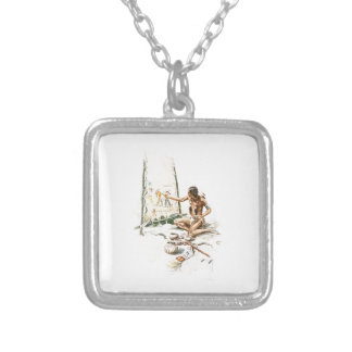 Harrison Fisher Song Hiawatha Red Indian Painting Square Pendant Necklace