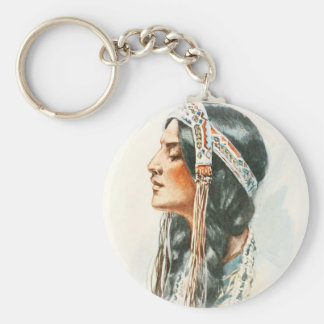 Harrison Fisher Song Hiawatha Red Indian squaw 2 Basic Round Button Keychain