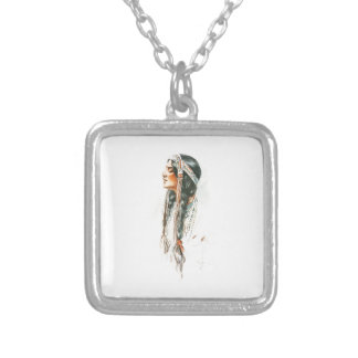 Harrison Fisher Song Hiawatha Red Indian Squaw 2 Square Pendant Necklace