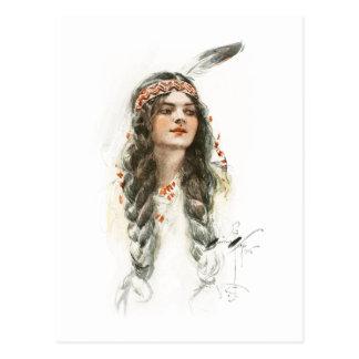 Harrison Fisher Song of Hiawatha Minnehaha Postcard