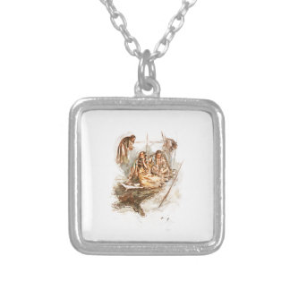 Harrison Fisher Song of Hiawatha Preparing Food Square Pendant Necklace