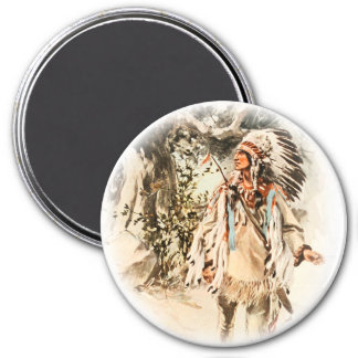 Harrison Fisher Song of Hiawatha Red Indian 3 Inch Round Magnet