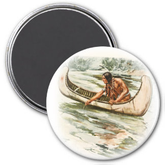Harrison Fisher Song of Hiawatha Red Indian Canoe 3 Inch Round Magnet