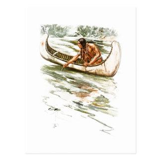 Harrison Fisher Song of Hiawatha Red Indian Canoe Postcard
