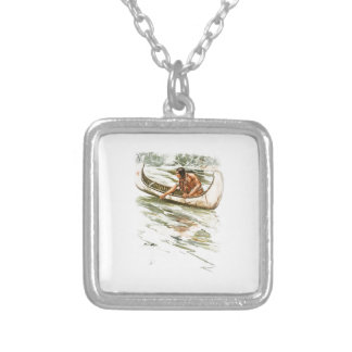 Harrison Fisher Song of Hiawatha Red Indian Canoe Square Pendant Necklace