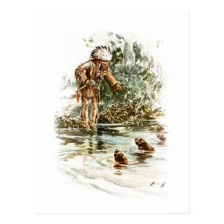 Harrison Fisher Song of Hiawatha Red Indian Otters Postcard