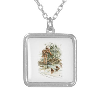 Harrison Fisher Song of Hiawatha Red Indian Otters Square Pendant Necklace
