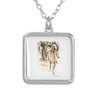 Harrison Fisher Song of Hiawatha Red Indian Square Pendant Necklace