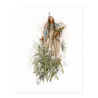 Harrison Fisher Song of Hiawatha The Lonely Maiden Postcard