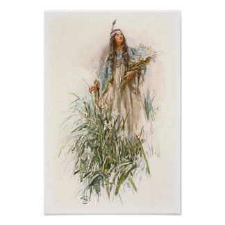 Harrison Fisher Song of Hiawatha The Lonely Maiden Poster