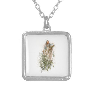 Harrison Fisher Song of Hiawatha The Lonely Maiden Square Pendant Necklace