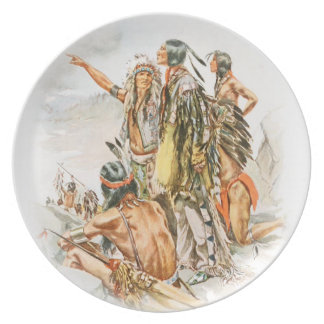 Harrison Fisher Song of Hiawatha To the Mountains Melamine Plate