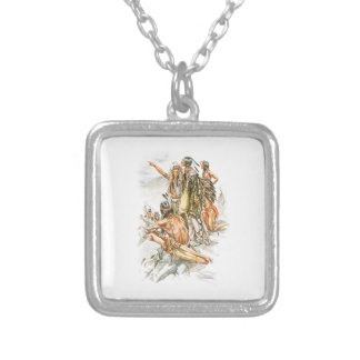 Harrison Fisher Song of Hiawatha To the Mountains Square Pendant Necklace