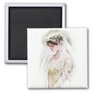 Harrison Fisher: The Bride 2 Inch Square Magnet