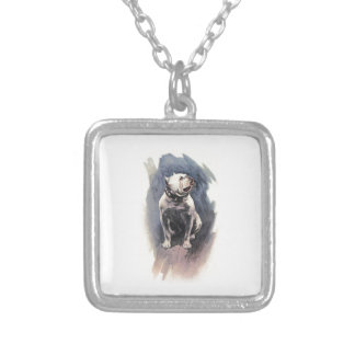 Harrison Fisher The Day of the Dog Bulldog Square Pendant Necklace