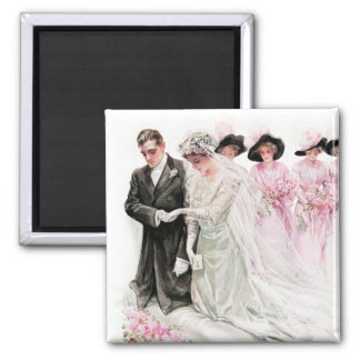Harrison Fisher: The Wedding 2 Inch Square Magnet