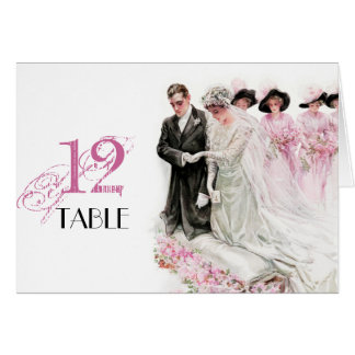 Harrison Fisher: Wedding Table Place Number Card