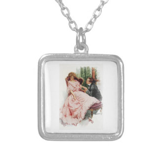 Harrison Fisher When a Man Marries Making Amends Square Pendant Necklace