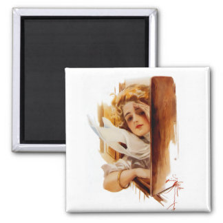 Harrison Fisher: Woman in Train 2 Inch Square Magnet