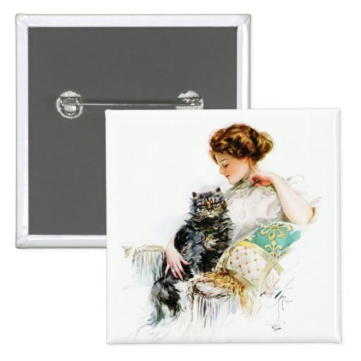 Harrison Fisher: Woman with Cat Pinback Button