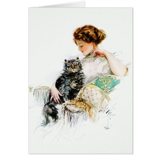 Harrison Fisher: Woman with Cat Card