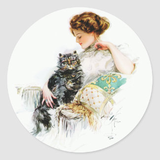 Harrison Fisher: Woman with Cat Classic Round Sticker