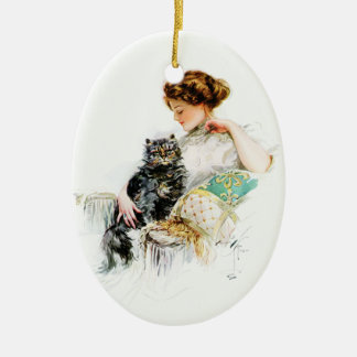 Harrison Fisher: Woman with Cat Christmas Tree Ornaments