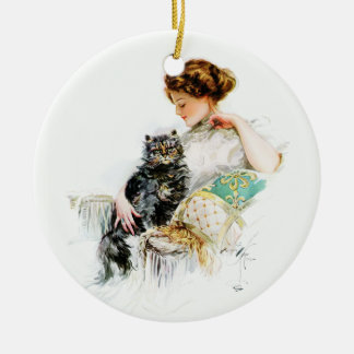 Harrison Fisher: Woman with Cat Christmas Tree Ornament
