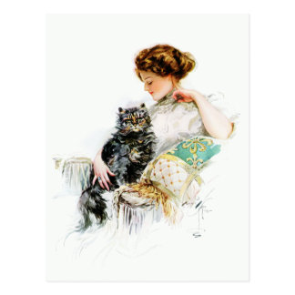 Harrison Fisher: Woman with Cat Postcard