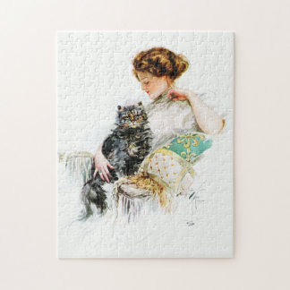 Harrison Fisher: Woman with Cat Jigsaw Puzzles