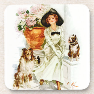 Harrison Fisher: Woman with three Dogs Beverage Coaster